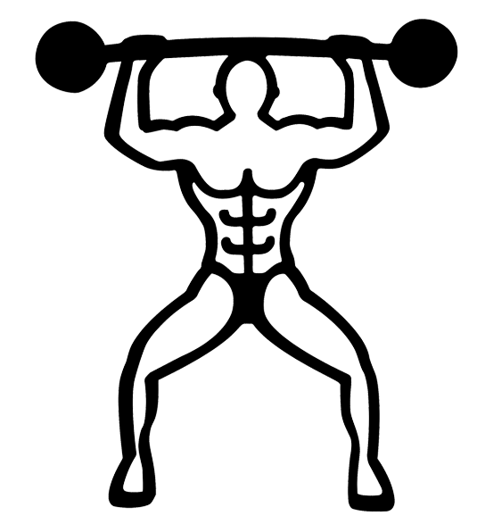 Bodybuilder magnetic mat pylones. Muscle clipart weightlifting