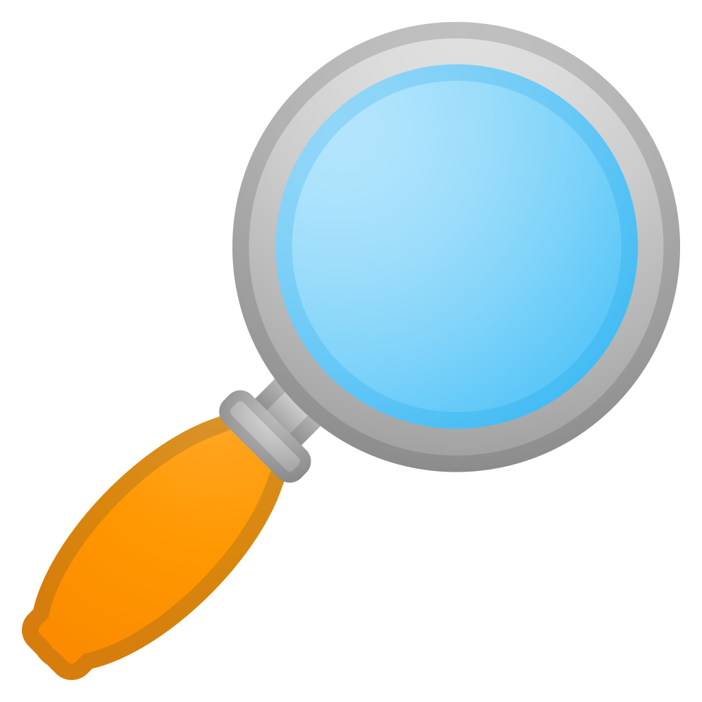 Magnifying glass icon png. Tilted right noto emoji
