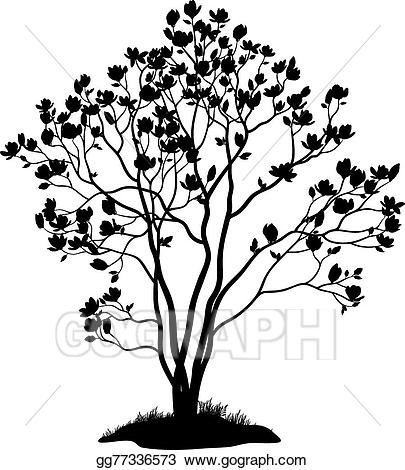 Magnolia clipart magnolia tree. Eps vector with flowers