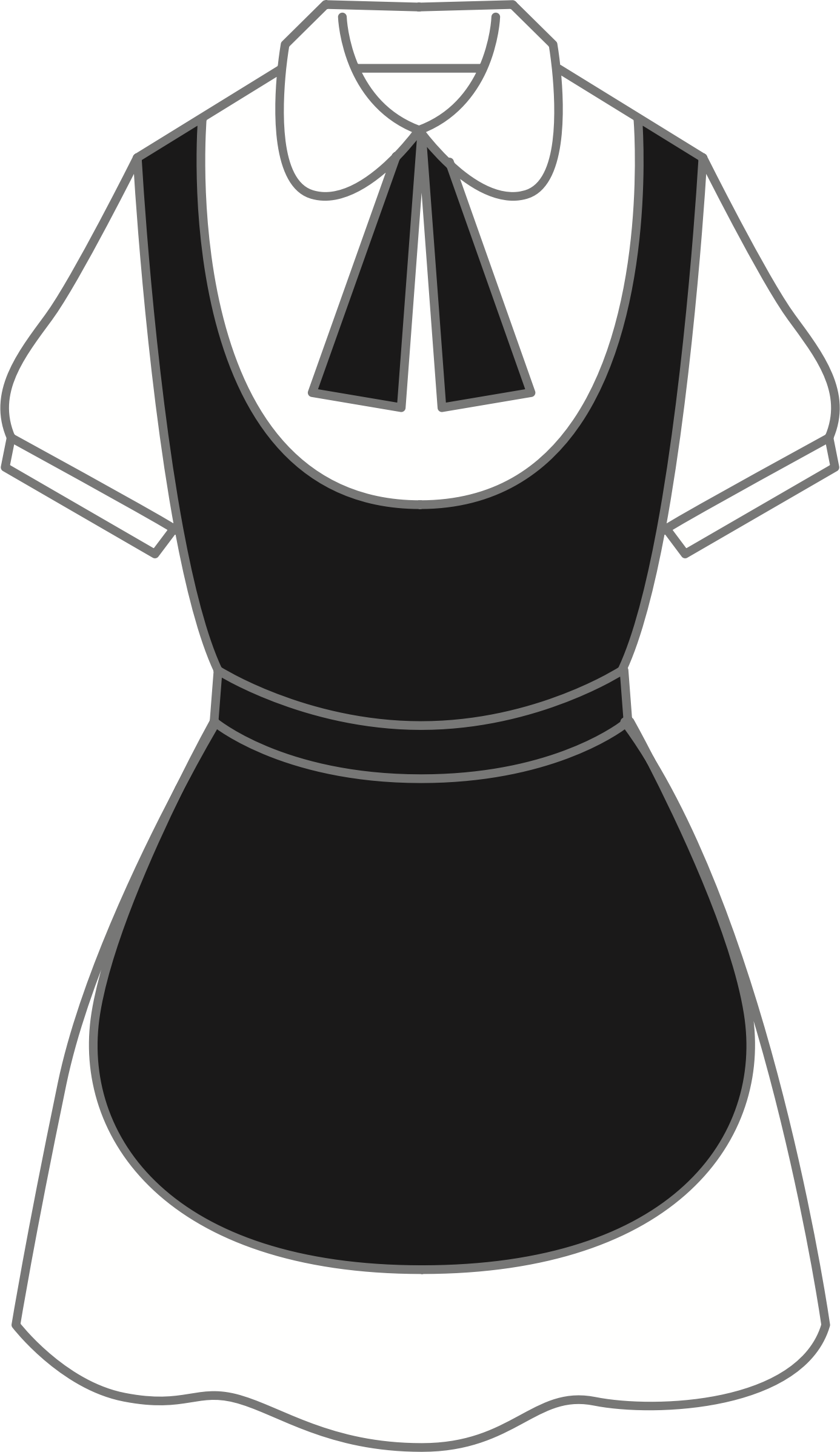 Maid clipart black and white. Uniform big image png