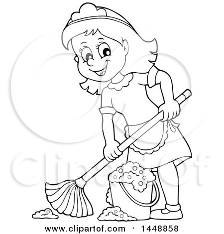 Maid clipart black and white. Station