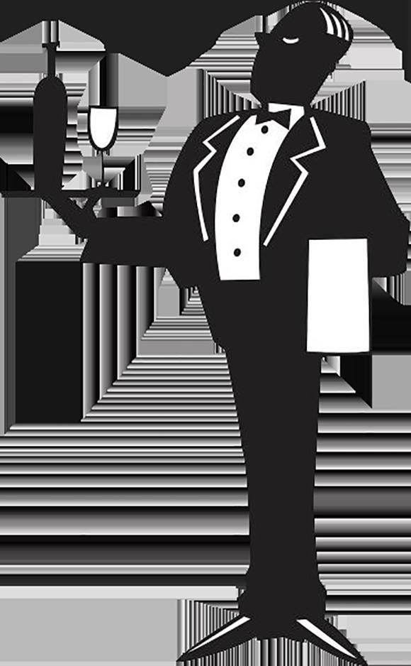 Waitress clipart butler. Logo tray a servant