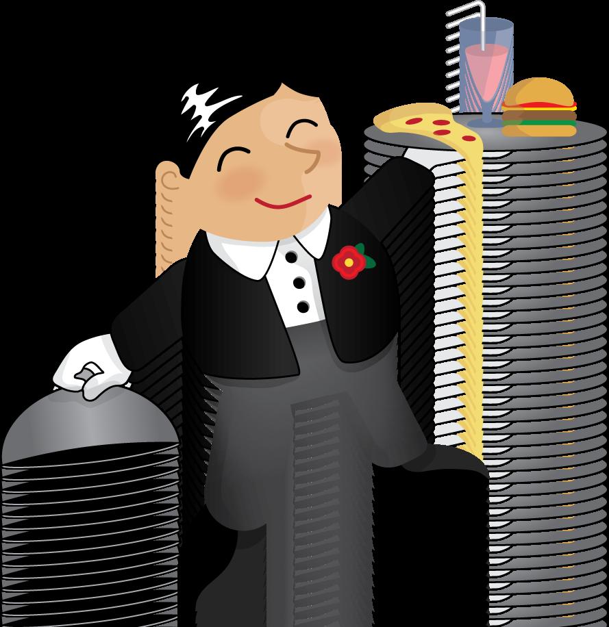 Illustration. Maid clipart butler