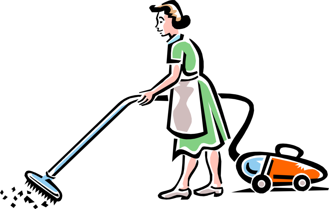 Maid clipart cleanliness. Cleaning service vacuums vector