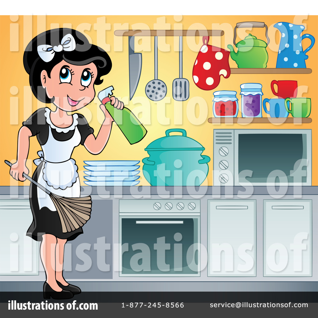 Kitchen illustration by visekart. Maid clipart cooking