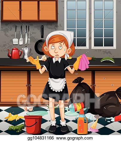 Maid clipart cooking. Vector illustration a cleaning