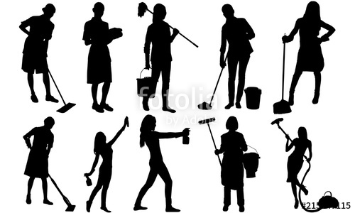 Cleaning lady silhouette vacuum. Maid clipart duster