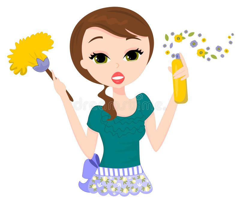 Photo about illustration of. Maid clipart dusting