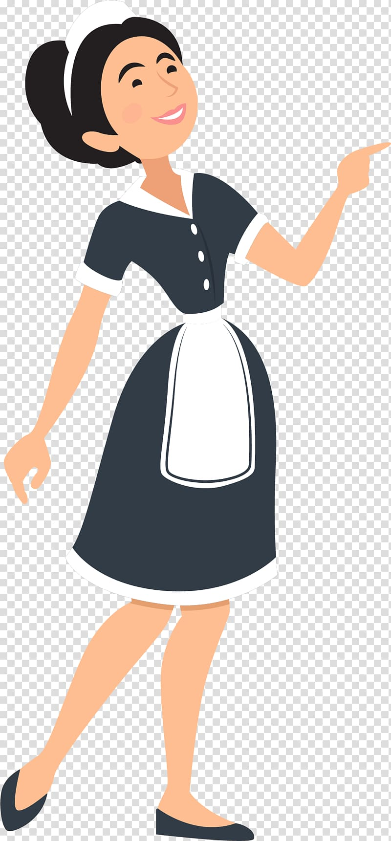 Maid clipart female servant. Housekeeper illustration cleaning the