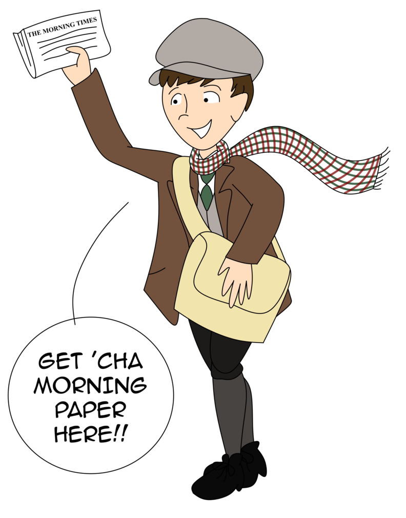 Victorian newspaper boy by. Yelling clipart manner