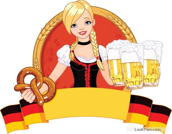 Maid clipart german beer. Girl with oktoberfest vector