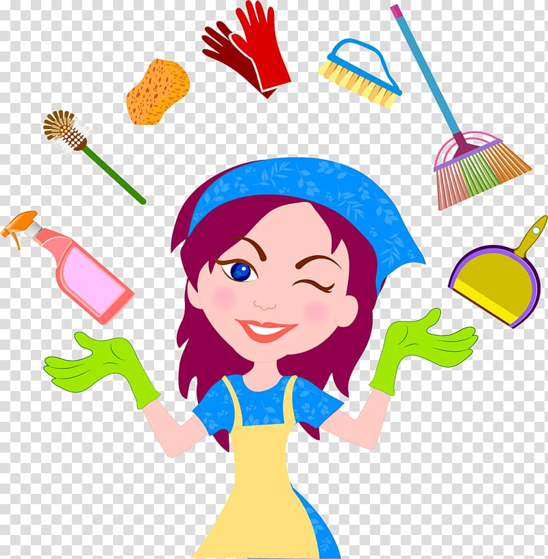 Maid clipart happy. Female housekeeper illustration cleaning