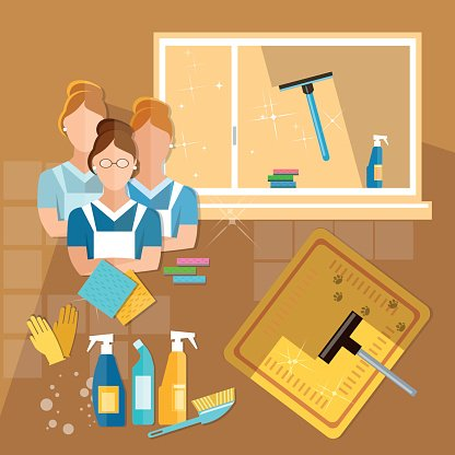 Maid clipart home cleaning service. House cleaners team premium