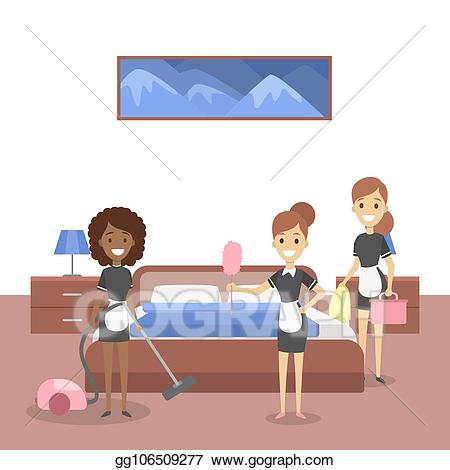 Maid clipart housekeeping staff. Vector art gorup of