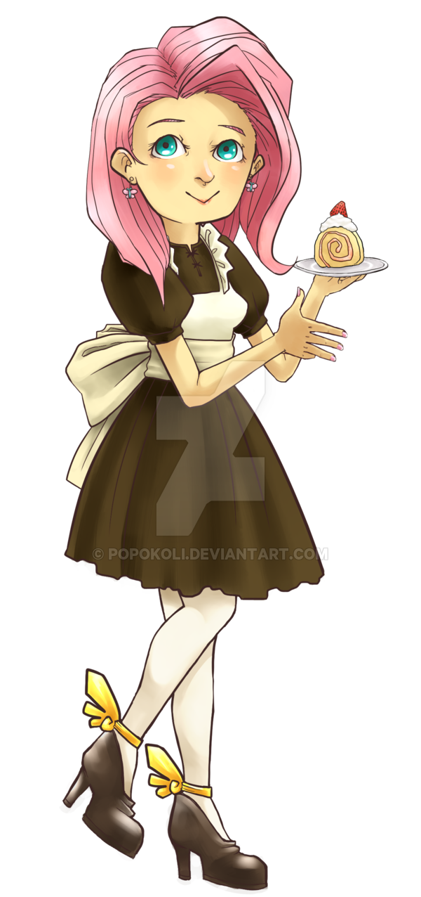 Maid clipart maid outfit. Fluttershy by popokoli on