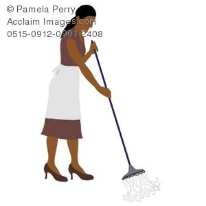 Maid clipart mop floor. Clip art illustration of