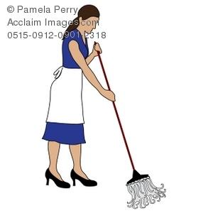 Clip art illustration of. Maid clipart mop floor