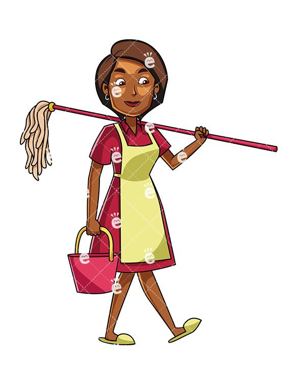 A carrying mop and. Maid clipart professional black woman