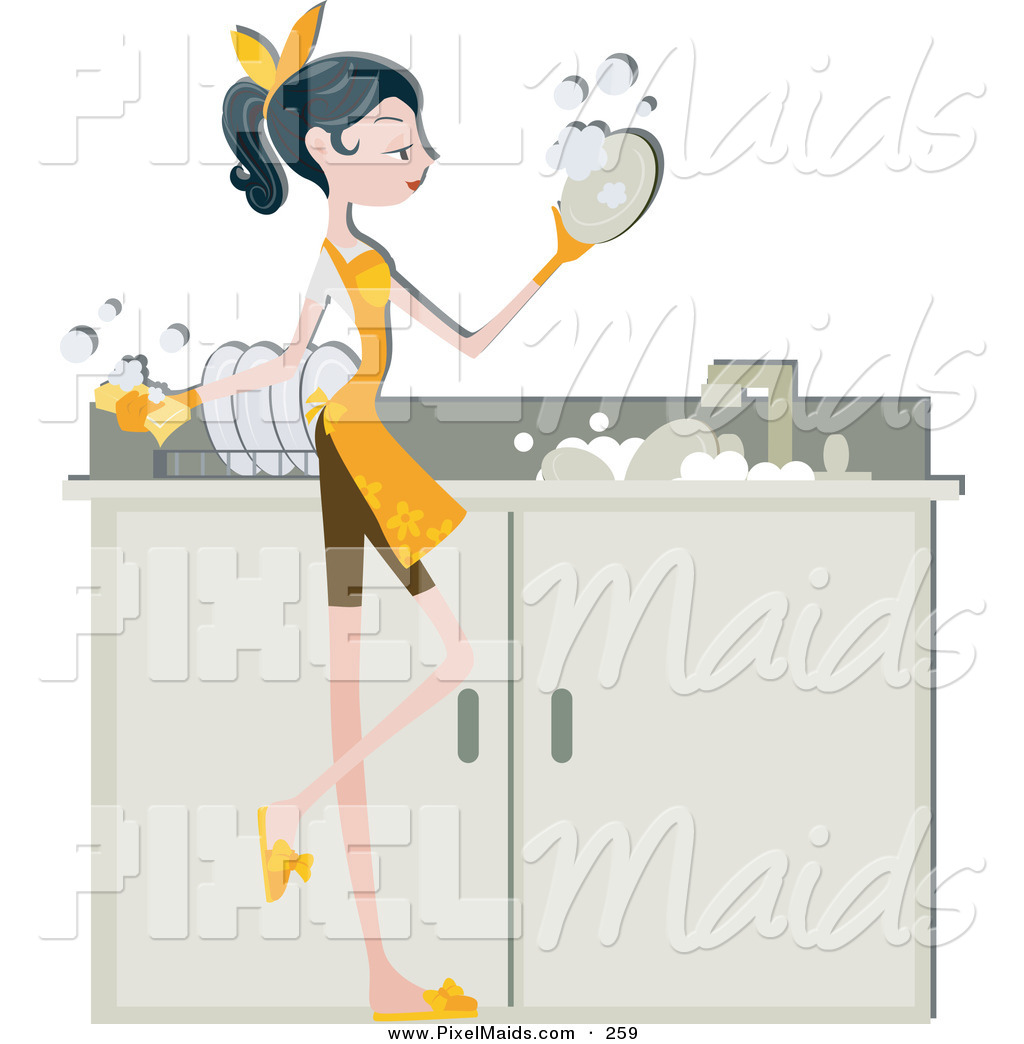 Of a pretty home. Maid clipart washing dish