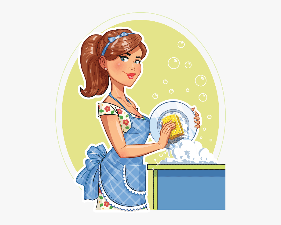 Maid clipart washing dish. Black and white download