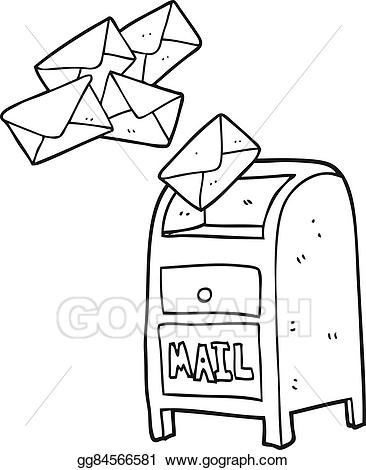 Vector stock cartoon mail. Mailbox clipart black and white