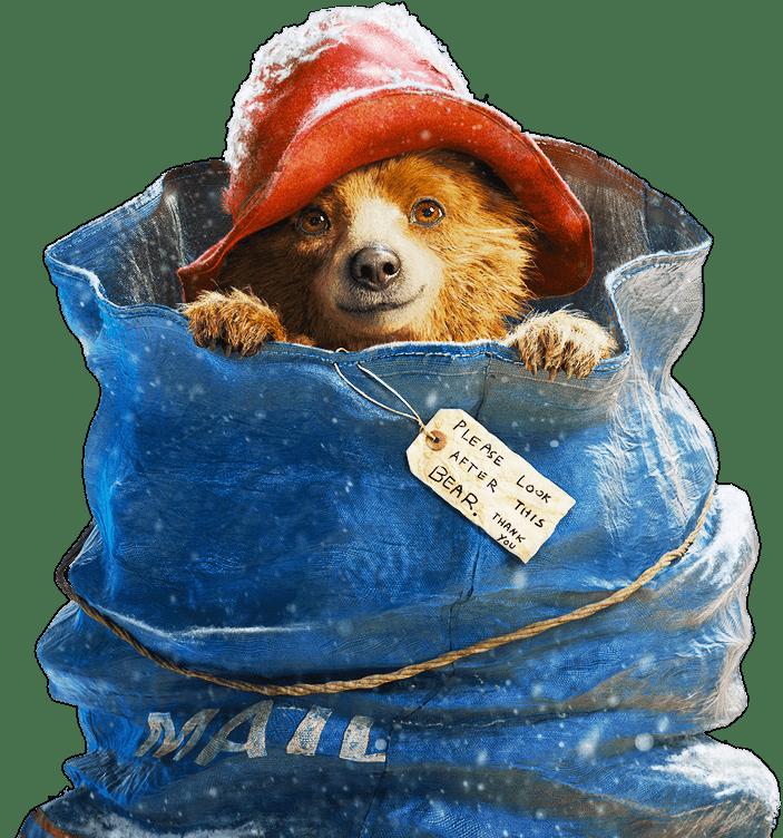 Paddington bear in transparent. Mail clipart mail bag