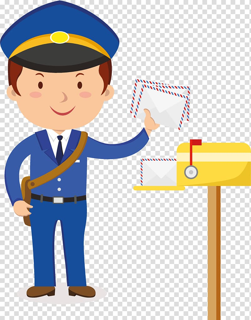 Mail clipart mail carrier. Policeman postman transparent background
