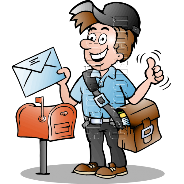 Postman delivering . Mailbox clipart mail delivery