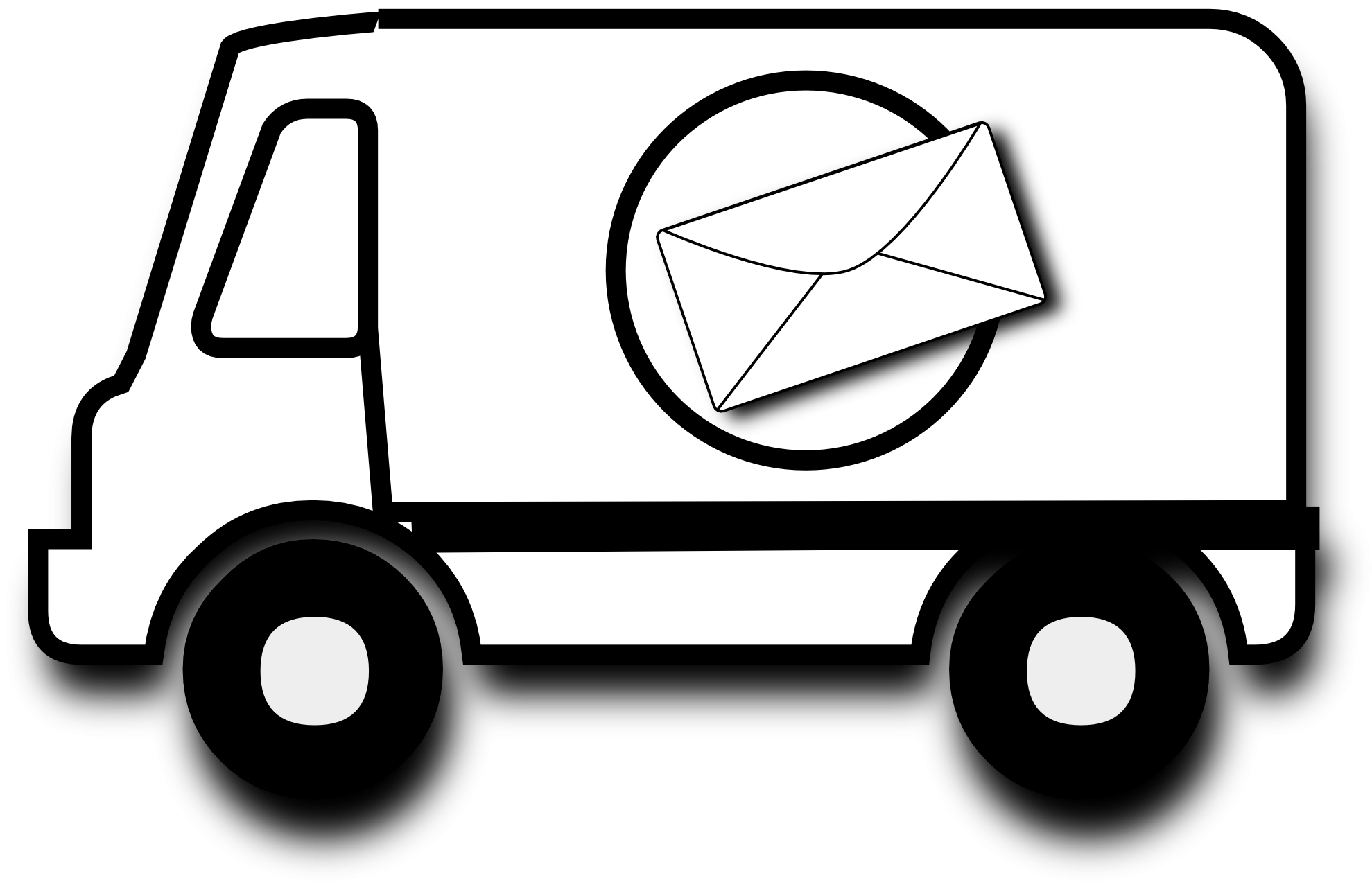 Truck black and white. Mail clipart mail man