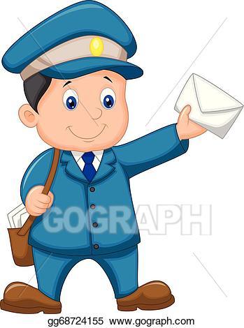 Mail clipart mail man. Vector art carrier cartoon