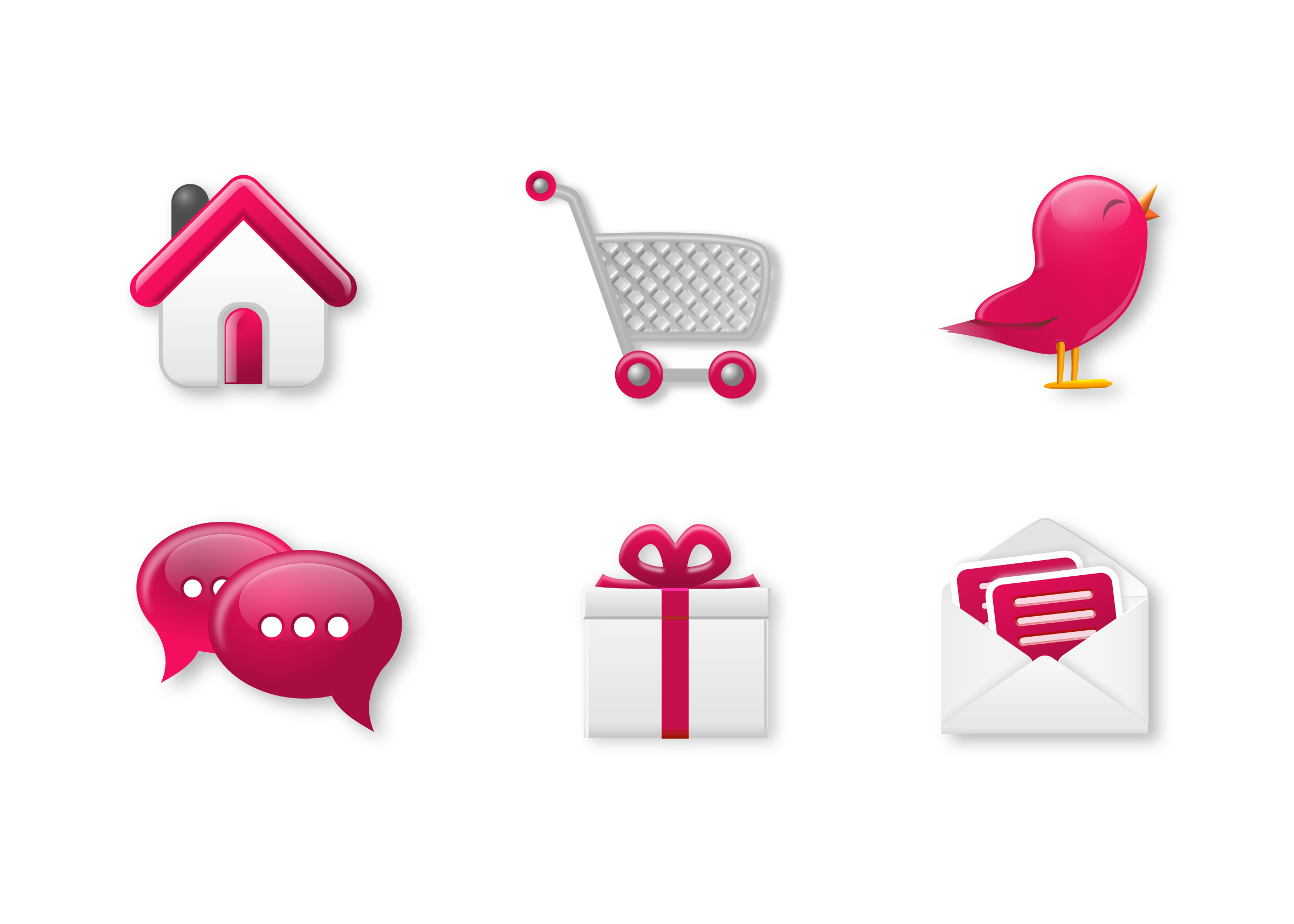 Icon set big image. Mail clipart pink