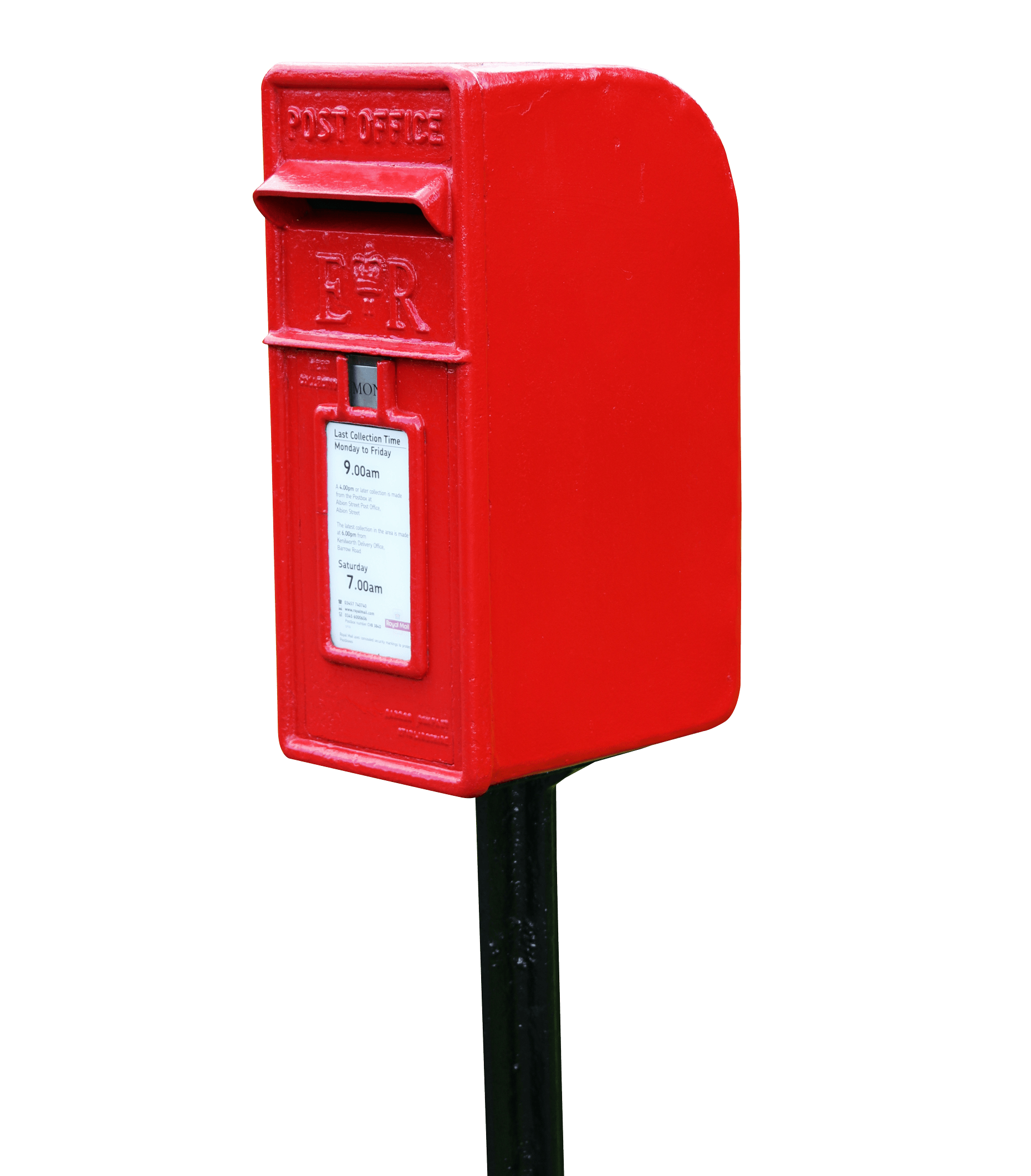 Red postbox on stand. Mailbox clipart buzon