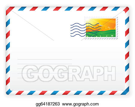 Mail clipart stamped envelope. Vector illustration and postage