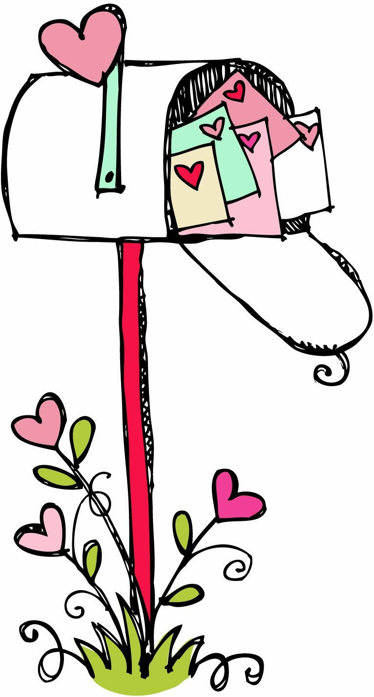Mailbox clipart. Black and white happy