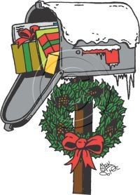 Clip art holiday . Mailbox clipart christmas