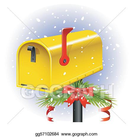Vector stock illustration . Mailbox clipart christmas