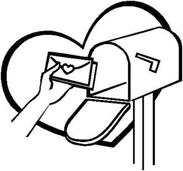 Mailbox clipart coloring. Valentine clip art library