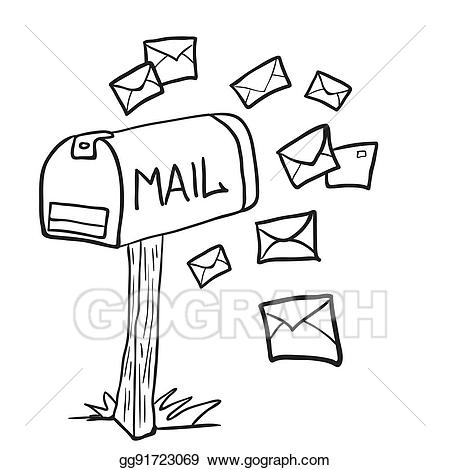 Vector stock black and. Mailbox clipart drawn