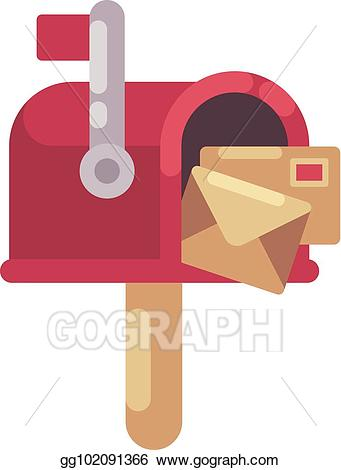 Mailbox clipart flat. Vector stock red with