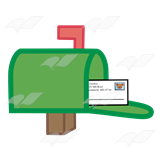 With an envelope inside. Mailbox clipart green