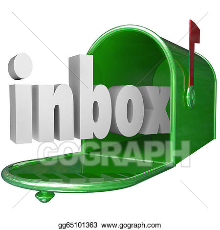 Stock illustration inbox word. Mailbox clipart green