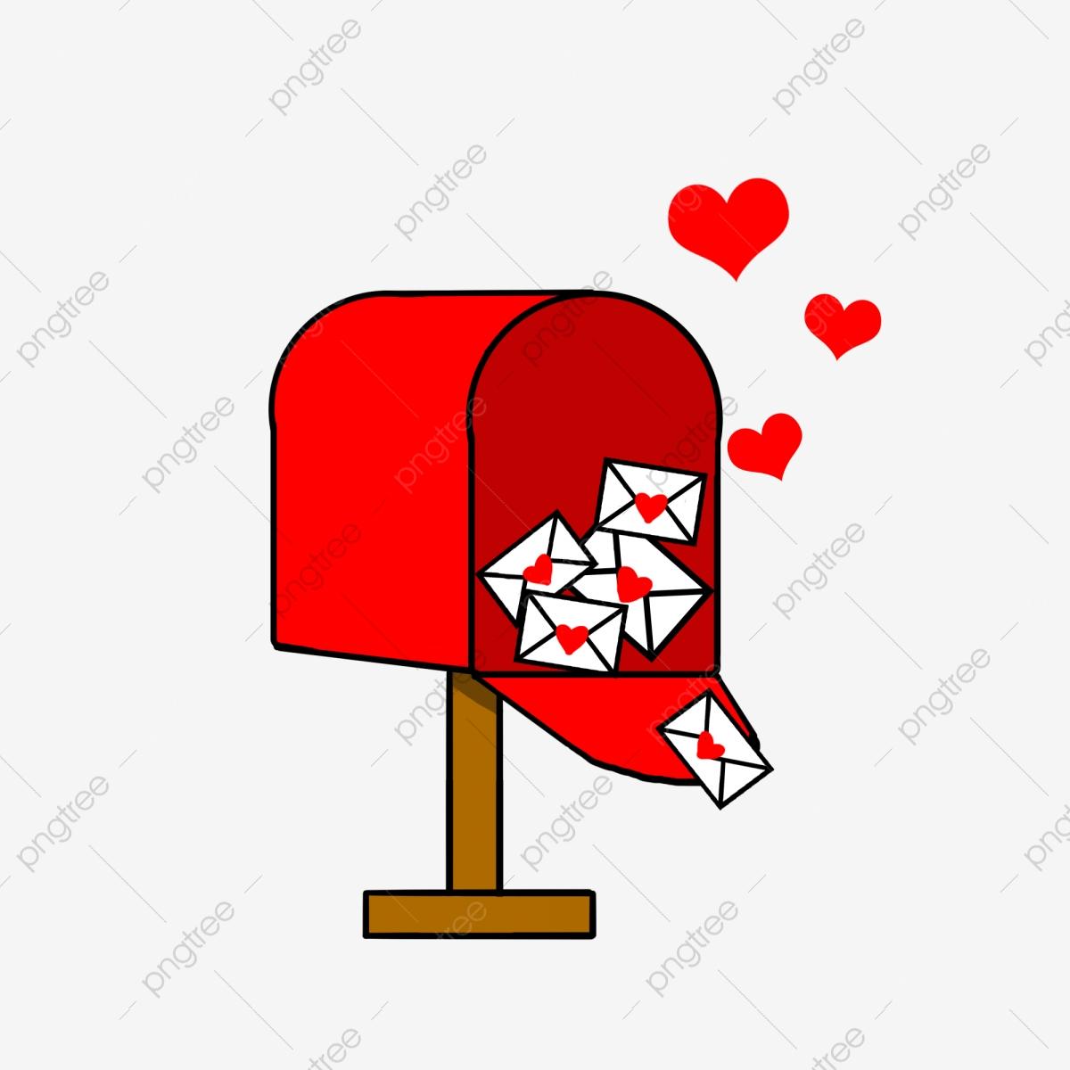 White envelope red shape. Mailbox clipart heart