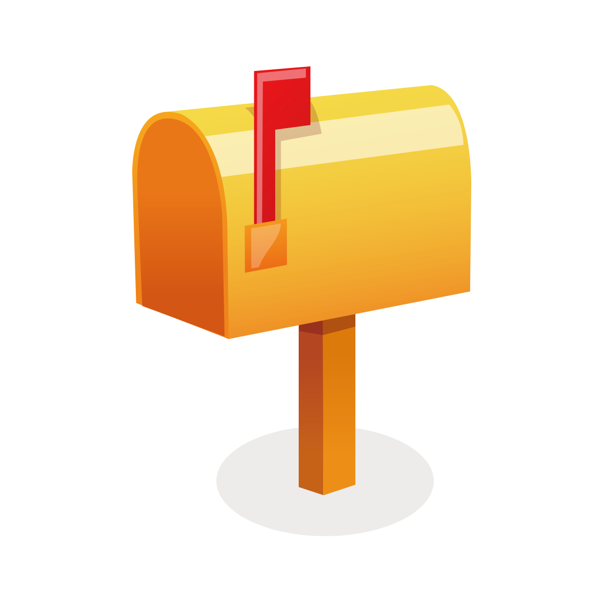 Box post yellow model. Mailbox clipart mail letter