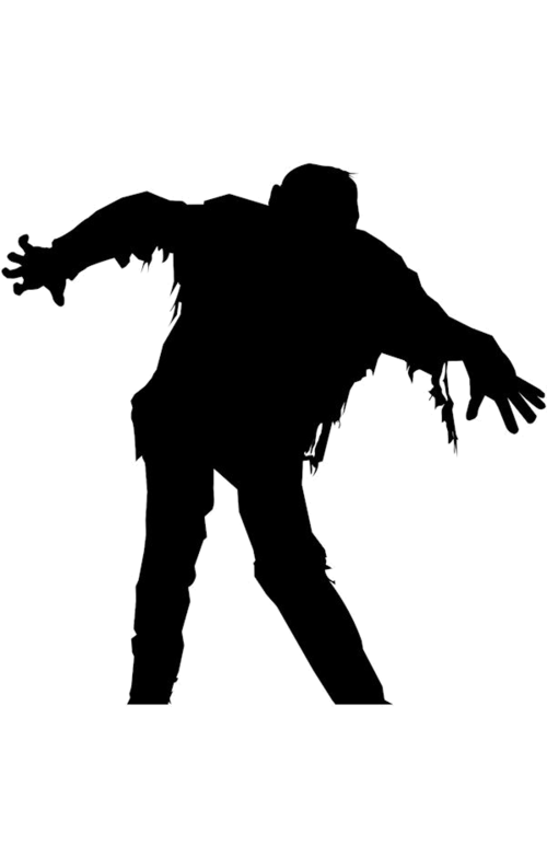 Dancing zombie window silhouettes. Mailbox clipart silhouette