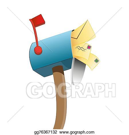 Mailbox clipart stuffed. Vector stock clip art