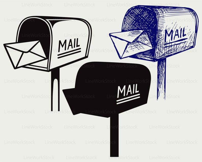 Mailbox clipart svg. Silhouette cricut cut files