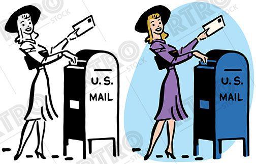A woman drops letter. Mailbox clipart vintage mailbox