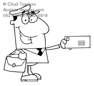 Image of black and. Mailman clipart