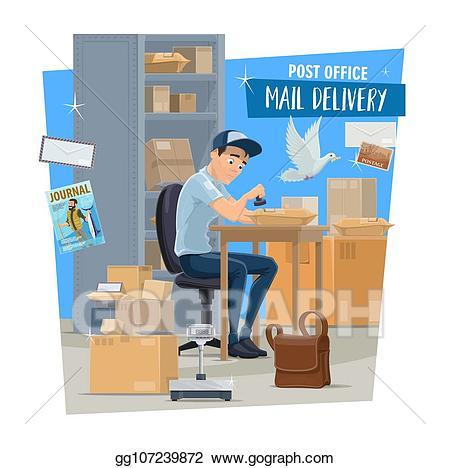 Vector art service postman. Mailman clipart sign post office