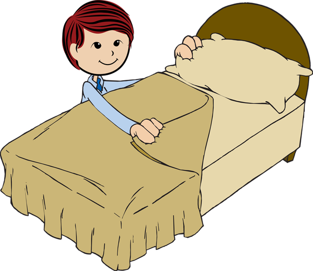 Boy making bed . Make clipart